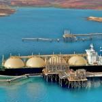 LNG tanker at loading terminal